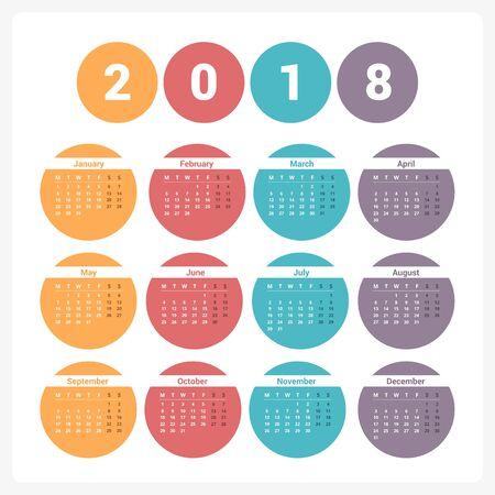 2018 Calendar, week starts on Monday, vector eps10 illustration Illustration
