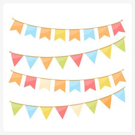 カラフルな招待状の装飾の旗布、グリーティング カードなど、フラグ、秋の色を旗布ベクトル eps10 イラスト  イラスト・ベクター素材
