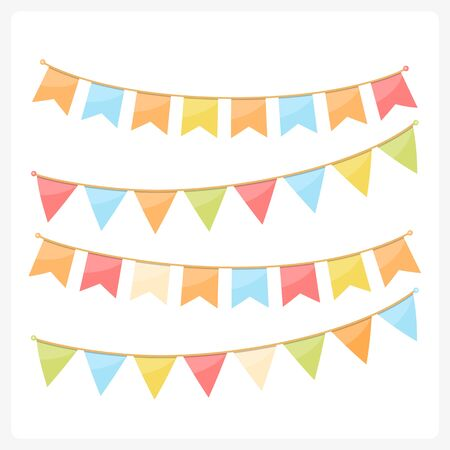 Colorful bunting for decoration of invitations, greeting cards etc, bunting flags, autumn colors, vector eps10 illustration