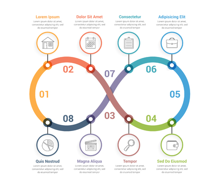Process diagram with eight steps, infinity shape, workflow, steps, options, vector eps10 illustration