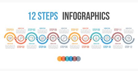 12 단계 또는 옵션, 워크 플로우, 프로세스 다이어그램, 벡터 eps10 일러스트와 함께 Infographic 템플릿