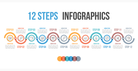 Infografik Vorlage mit 12 Schritten oder Optionen, Workflow, Prozessdiagramm, Vektor-Illustration eps10 Standard-Bild - 85126457