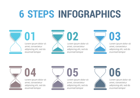 six objects: 6 Steps infographics with hourglass vector eps illustration