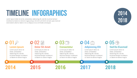 timeline infographics template workflow or process diagram