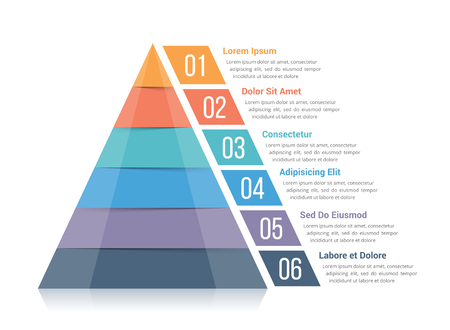six objects: Pyramid infographic template with six elements, vector eps10 illustration