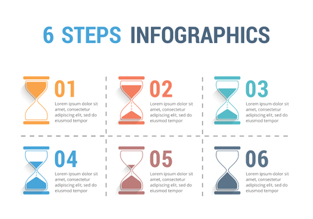six objects: 6 Steps infographics with hourglass, vector eps10 illustration.
