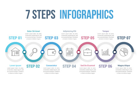 Infographic template with 7 steps or options, workflow, process diagram, vector eps10 illustration 向量圖像