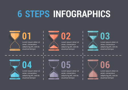six objects: 6 Steps infographics with hourglass, dark background, vector eps10 illustration Illustration