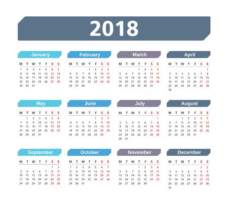 event planner: 2018 Calendar, week starts on Monday, vector eps10 illustration Illustration