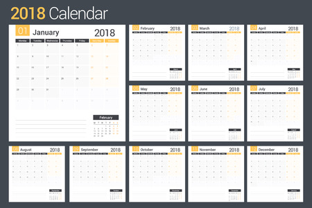 event planner: 2018 Calendar template, planner, 12 pages.