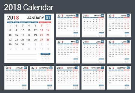 event planner: 2018 Calendar, 12 pages, vector eps10 illustration