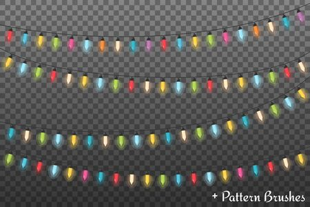 christmas backgrounds: Colorful Christmas lights, dark background, vector eps10 illustration