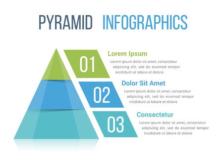 Pyramide Infografische Vorlage mit drei Elementen, Vektor eps10 Illustration