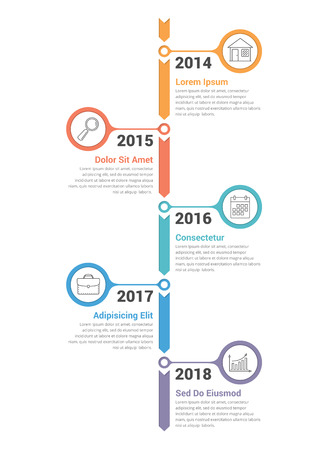Vertical timeline infographics template with arrows, vector eps10 illustration Ilustracja