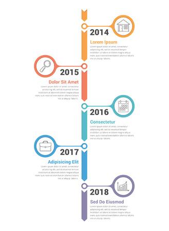 Verticale tijdlijn infographics sjabloon met pijlen, vectorillustratie eps10