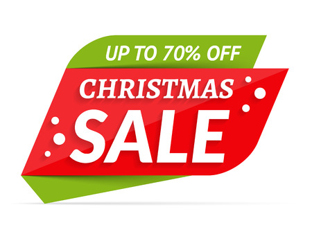 Christmas Sale banner, 70% off vector illustration.
