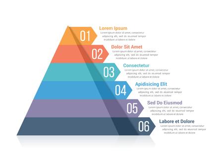 6つの要素を持つピラミッドのインフォグラフィックテンプレート