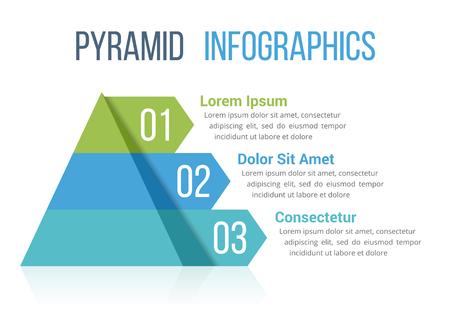 Grafische Schablone der Pyramideninformation mit vier Elementen, farbige Illustration