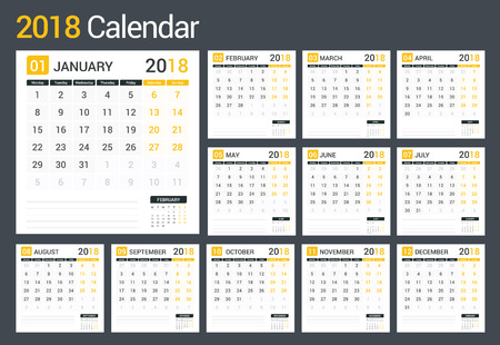 Calendar Template For Pages | 2018 Calendar Template Planner 12 Pages Week Starts On Monday