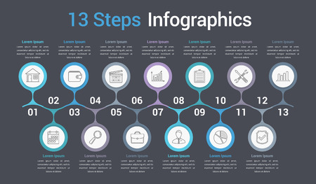 Infographic template with 13 steps or options, business infographics, process, workflow diagram, vector illustration.
