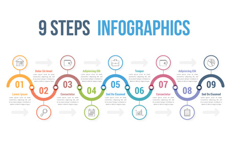 infographic template with 9 steps or options workflow process
