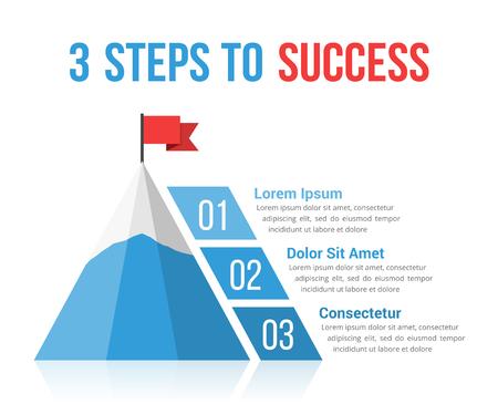 3 punti a infographics di successo, direzione, concetto di motivazione, illustrazione di vettore eps10