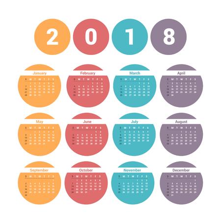 2018 Calendar, week starts on Sunday