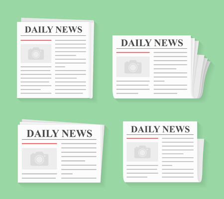 Four newspapers, daily news, flat style
