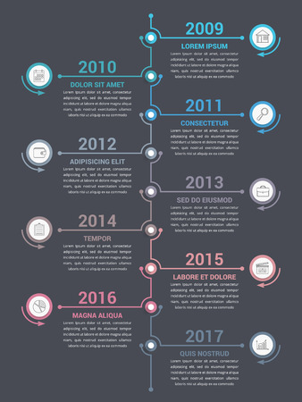 Vertical timeline infographics template, workflow or process diagram