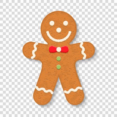 Homme de pain d'épice sur fond transparent, biscuit traditionnel de Noël.