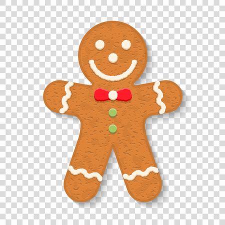 Gingerbread man on transparent background, traditional Christmas cookie. Vettoriali
