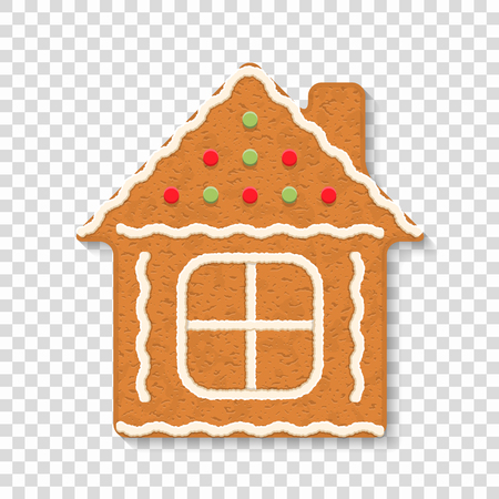 Gingerbread house on transparent background, traditional Christmas cookie, vector eps10 illustration