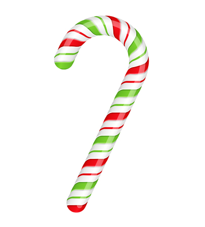 Red-green candy cane on white background