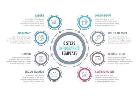 8 Steps - circle infographic template, workflow or process diagram Vettoriali