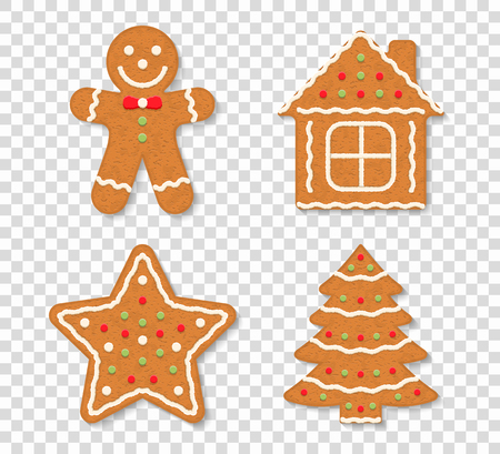 Gingerbread Christmas cookies on transparent background - man, tree, house and star, vector eps10 illustration