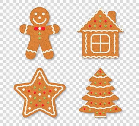 Biscotti di natale del pan di zenzero su fondo trasparente - uomo, albero, casa e stella, illustrazione di vettore eps10 Vettoriali