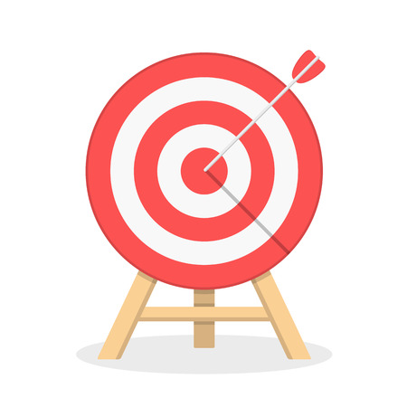 Red target with arrow, flat style