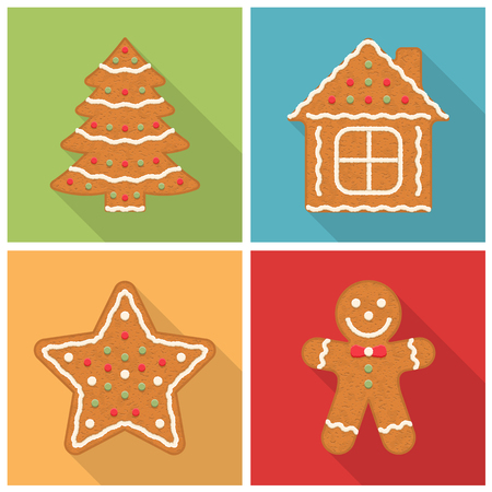 Gingerbread Christmas cookies with long shadows - man, tree, house and star