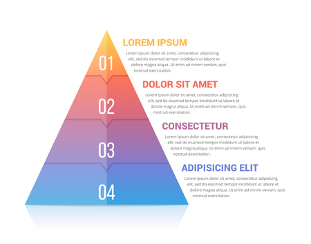 Pyramid infographic template with four elements, soft gradint colors, vector eps10 illustration