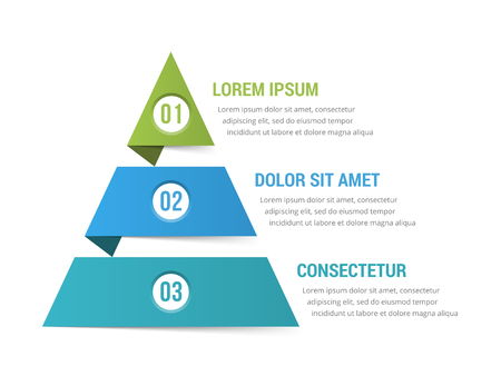 Pyramid infographic template with three elements