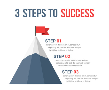3 Steps to success infographics, leadership, motivation concept.