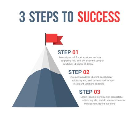 3 Steps to success infographics, leadership, motivation concept.