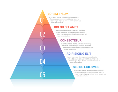 Pyramid infographic template with five elements, soft gradint colors