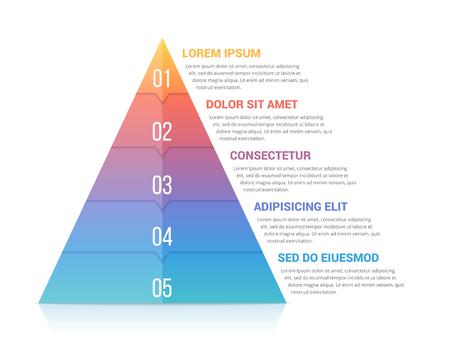 Plantilla de pirámide infografía con cinco elementos, colores suaves de gradiente