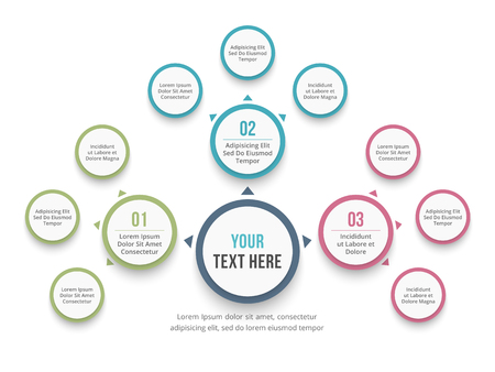 Abstract mind map template, business infographics. Vettoriali