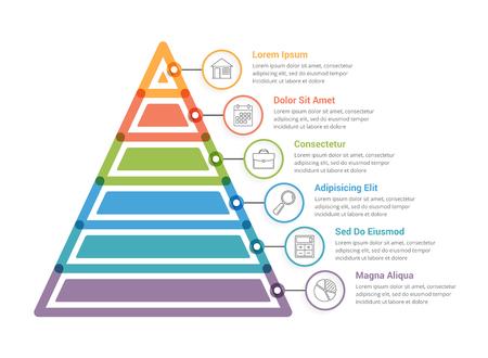 6 つの要素を持つピラミッド インフォグラフィック テンプレート  イラスト・ベクター素材