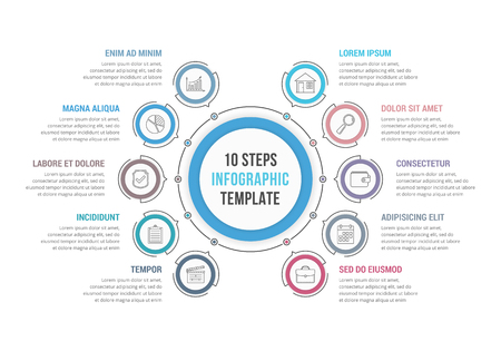 Circle infographic template with 10 steps or options, workflow or process diagram