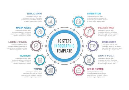 Modèle d'infographie en cercle avec 10 étapes ou options, diagramme de flux de travail ou de processus