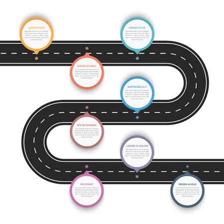 Weginfographics met acht wijzers met plaats voor uw tekst