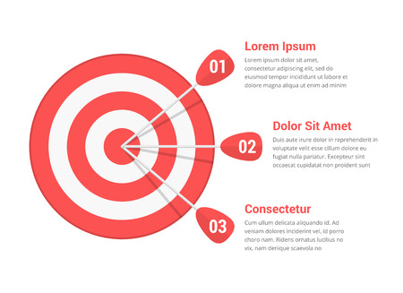 Target with three arrows, three steps or options infographics, vector illustration
